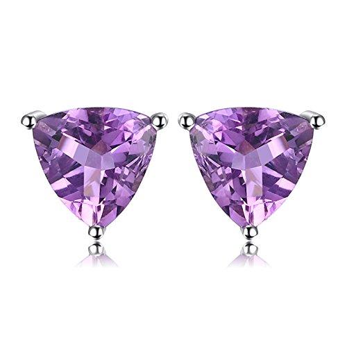 JewelryPalace Triangolo 1.9ct Naturale Viola Ametista Birthstone Stud Orecchini Solido 925 Sterling Argento