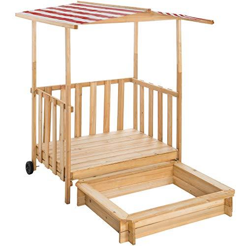 TecTake 800792 Sandkasten mit Dach, Spielhaus mit Sandkasten aus Holz, Sandkiste mit Veranda und Geländer, Sandbox mit Abdeckung und Sonnenschutz - Diverse Farben - (Rot | Nr. 403239)