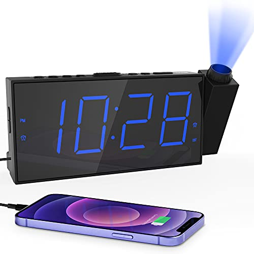 Projection Alarm Clock for Bedroom,LED Digital Clock Projection on Ceiling Wall with USB Phone Charging,Battery Backup,180°Projector& Dimmer,12/24H,DST,Snooze,Dual Loud Bedside Clock for Heavy Sleeper