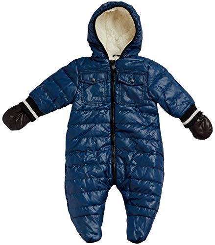 Urban Republic Baby Boys Snowsuit Winter Pram - Fully Sherpa Fur Lined (Newborn and Infant) (Navy/Black with Gloves, 6 Months)