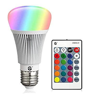 RGB LED Bulbs Color Changing Light Bulbs Dimmable 10W E26 Base with Daylight White and Remote Controller A19 Flood Light Bulb 100 Watt Equivalent