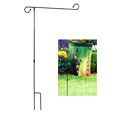 EPHIIONIY Garden Flag Stand, Premium Garden Flag Pole Holder Metal Powder-Coated Weather-Proof Paint, Easy to Install Garden Stand Holder for Yard Lawn Outdoor Decoration