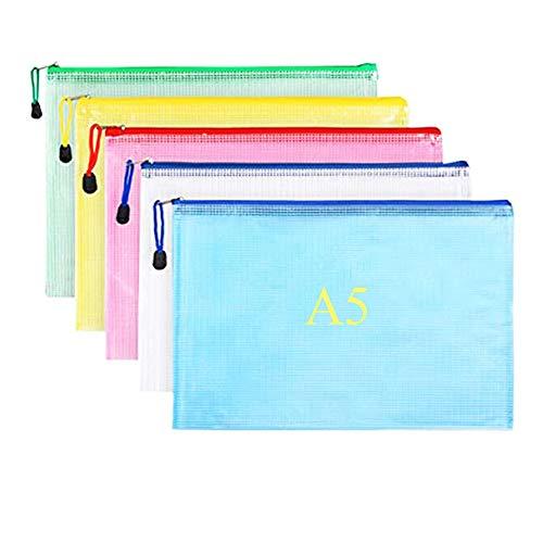 10 piezas Malla Bolsas Archivos de PVC Carpeta Documentos con cremallera A5 bolsa almacenamiento archivos para almacenamiento de recibos de viaje de asignación de tareas de oficina escolar (5 colores)