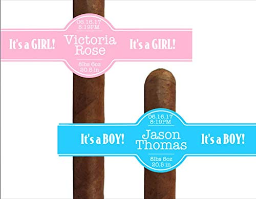 Set of 16 Personalized NEW BABY Cigar Labels - It's a Boy - It's a Girl - Custom Cigar Labels - Party Favors - Gift Cigar band Celebration
