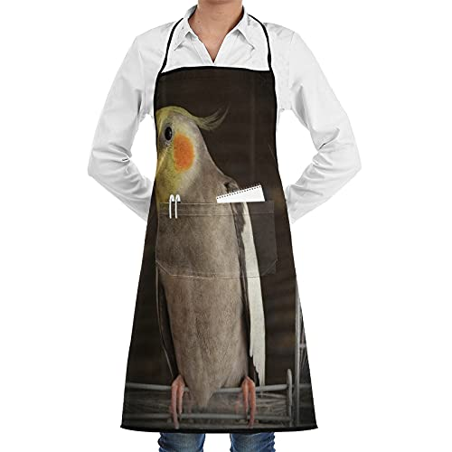 XWJZXS Kitchen Cooking Aprons for Women & man,Waterproof apron,Cockatiel Wire Bird Cage,Apron with 2 Pockets ,Aprons for Home Kitchen, Restaurant Cooking, Coffee House, BBQ, Garden Using