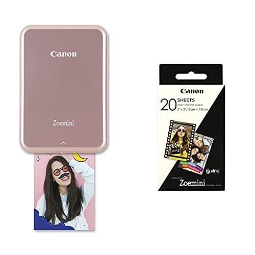 Canon Zoemini Pv-123 Mini Impresora (Bluetooth, USB, 314 x 600 PPP, Mini Print) Color Rosa + Zoemini Zink Hojas de Papel Fotográfico (20 Hojas, Compatible con Zoemini), Blanco