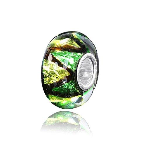 MATERIA - perlina in vetro di Murano verde e giallo con sfoglia di argento glitterato, perline di vetro con elementi di argento 925, modello a triangolo #962