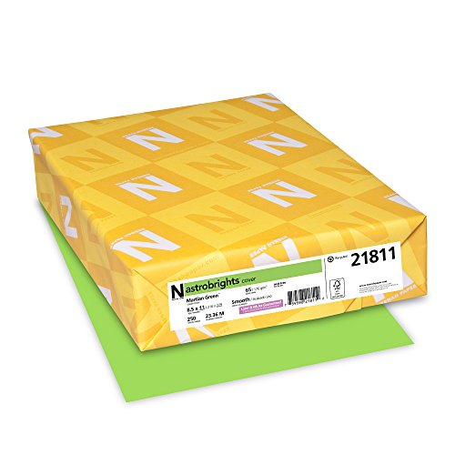 """Neenah Paper 21811 Astrobrights Colored Cardstock, 8.5"""" x 11"""", 65 lb/176 GSM, Martian Green, 250 Sheets"""