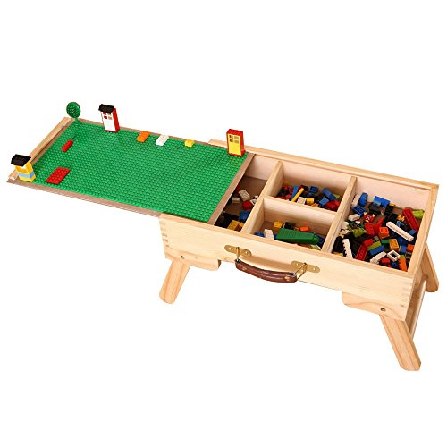 DAPU Large Wooden Play Table for Kids & Toddlers with Storage,Portable Folding Activity Table with 2 Sliding Drawers,Kids & Children