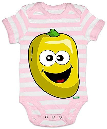 Hariz - Body para bebé, diseño de rayas de mango sonriendo, frutas y verano, incluye tarjeta de regalo rosa / blanco Talla:6-12 meses