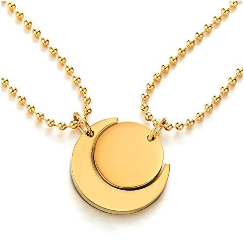 COOLSTEELANDBEYOND Par Color Oro Parejas Amantes Luna y Sol Emparejado Collar Colgante, Amantes Parejas Amigos para Hombre Mujer, Acero