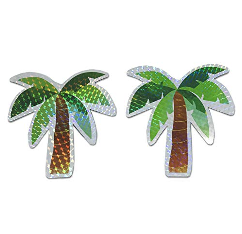 Palm Tree Screen Door Saver Magnets (5' x 5.2') Decorative Holographic Coconut Tree Magnets (2 pcs/lot) for Lanai Screen Patio Door Magnets Hawaii Home Decor
