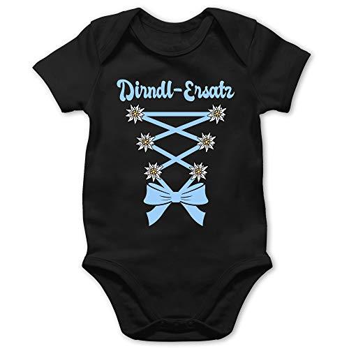 Shirtracer Oktoberfest & Wiesn Baby - Dirndl-Ersatz Korsage - hellblau - 12/18 Monate - Schwarz - Baby+Dirndl+mädchen - BZ10 - Baby Body Kurzarm für Jungen und Mädchen