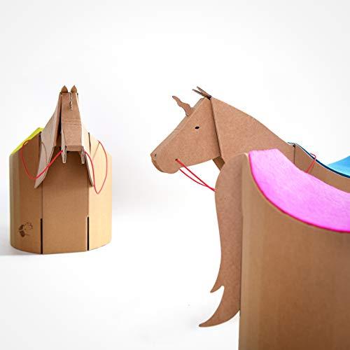 ergonomischer Kinderhocker aus Pappe, Pferd/Einhorn mit roter Wollfilzauflage (Ökotex 100)