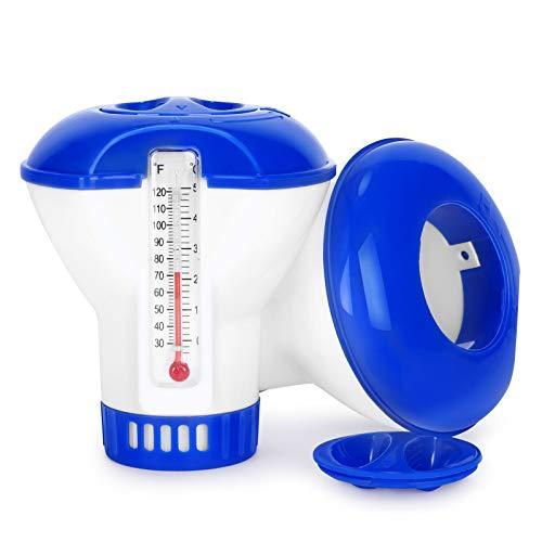 Gafild Dispensador de Cloro Flotante, 5 Inches dispensador de Cloro para Piscina,Dispensador de Cloro con termómetro para Piscina, Parque Acuático, SPA(2 Pack)