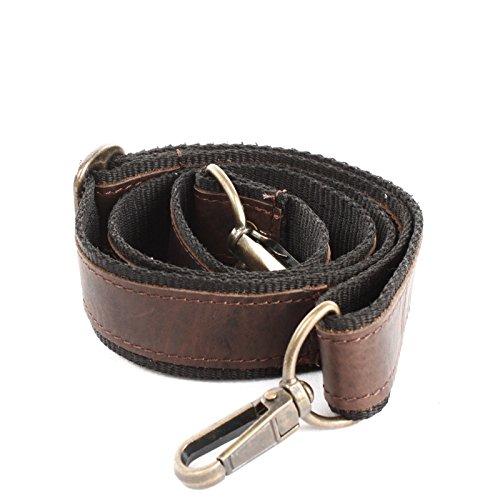 LECONI  Trageriemen Leder Nylon Schulterriemen breiter Schultergurt für Taschen Umhängegurt, S, Dunkelbraun Waxy