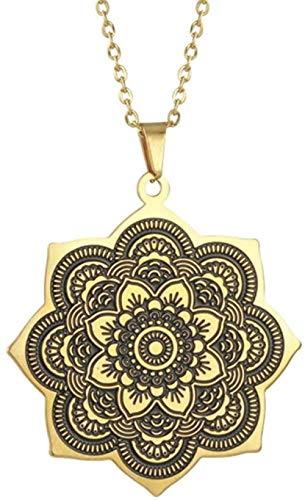 niuziyanfa Co.,ltd Vintage Indio Budismo Lotus Lotus Lotus Mandala Colgante Collar joyería de Acero Inoxidable 50 cm
