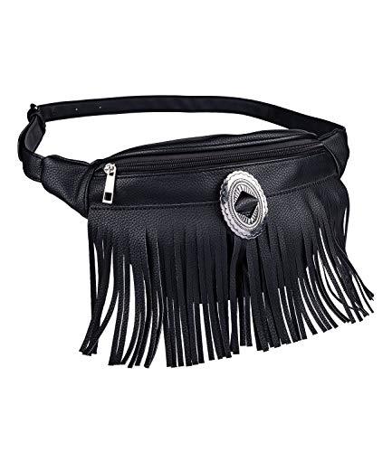 SIX Trendige Tasche, Bauchtasche, Gürteltasche, Hüfttasche mit Fransen, Hip Bag aus Kunstleder in Schwarz mit silberfarbenen Details, Tasche im Festival-Style (726-757)