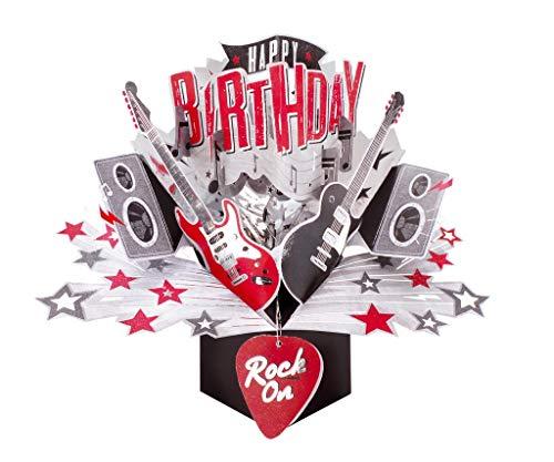 Second Nature POP174 - Biglietto Di Auguri Pop-Up Per Compleanno, Motivo: Chitarre