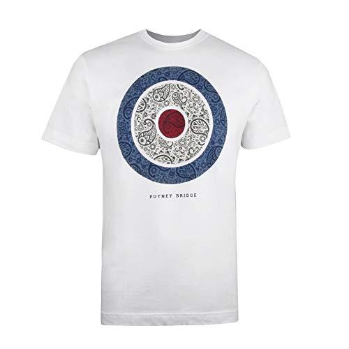 Putney Bridge Paisley Target Camiseta, Blanco (White White), L para Hombre