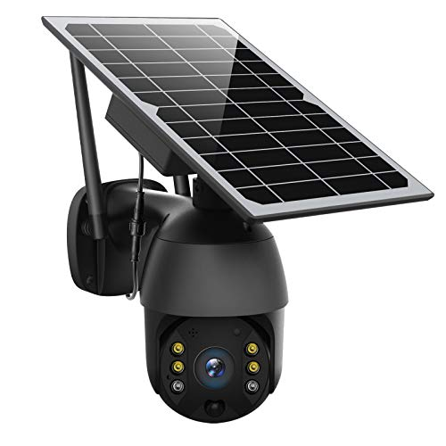 Solar Powered Wireless Security Camera Outdoor,ENSTER Pan Tilt WiFi Home Smart Cam Waterproof with Spotlight,Battery,Solar Panel, Color Night Vision,Motion Detection,2-Way Audio,SD&Cloud Storage-Black