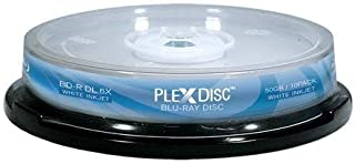 PLEXDISC 645-212 50 GB 6X Blu-ray Double Layer White Inkjet Recordable Disc BD-R DL, 10-Disc Spindle