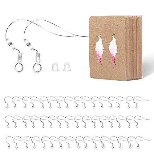 Earring Hooks - SOOKIN 100PCS Ear Wires Fish Hook Earring 925 Sterling Silver with 100PCS Earring Backs 50PCS Earring Cards Earring Making Supplies Kit - for DIY Jewellery Making