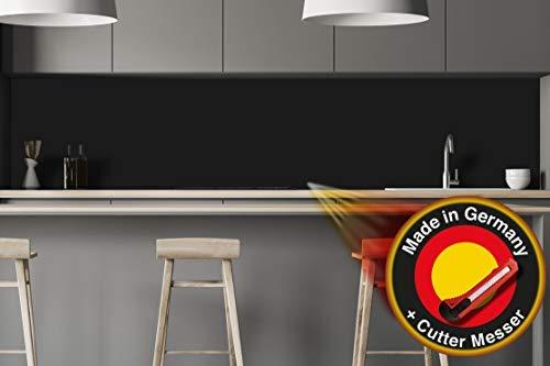 Küchenrückwand Folie selbstklebend - Glaslaminat - Schwarz - 1,75mm, Spritzschutz für Herd, Echtglasoptik (Schwarz, H 60 cm x B 80 cm)