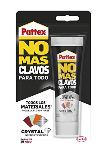 Pattex 2501910 No Mas Clavos Para Todo Crystal, adhesivo de montaje resistente a temperaturas extremas, pegamento fuerte en superficies húmedas, adhesivo transparente, 1 tubo x 90 g