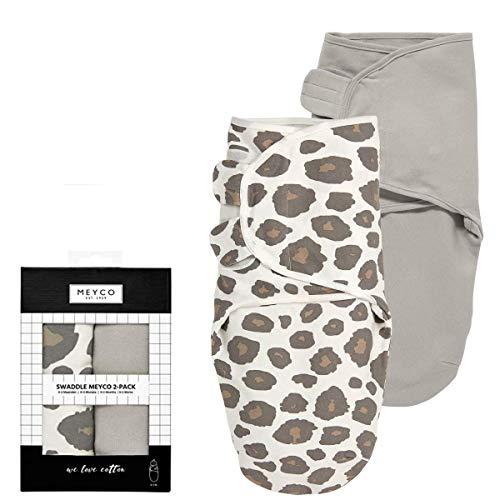 SwaddleMeyco ** Original Swaddle i 2 storlekar ** Pucksack/sovsäck för rastiga barn och bor (2-pack/0-3 månader, panter/grå)