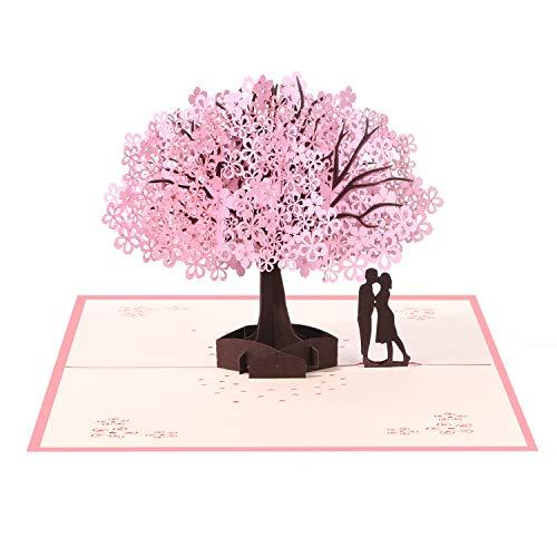 Vicloon 3D Karte, Geburtstagskarte, Pop Up 3D Karte Grußkarte mit Umschlag, Rosa Kirschblüte Valentinstag Karte, für Hochzeitstag, Hochzeitsgeschenk, Geburtstag, Graduierung Karte, Hochzeitseinladung
