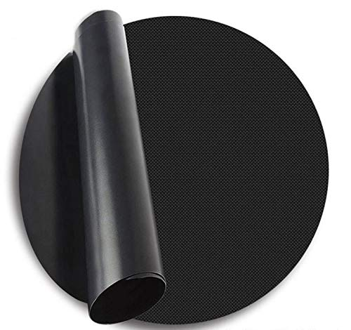 Krumble Teflon BBQ Grillmatte rund/Durchmesser 40 cm/Ofenbackmatte/Antihaft/Skottelbraai Backmatte - Schwarz