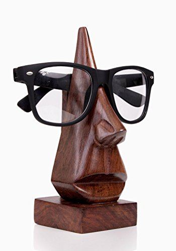 Store Indya Unique Hand Carved Rosewood Nose-Shaped Eyeglass Spectacle Holder