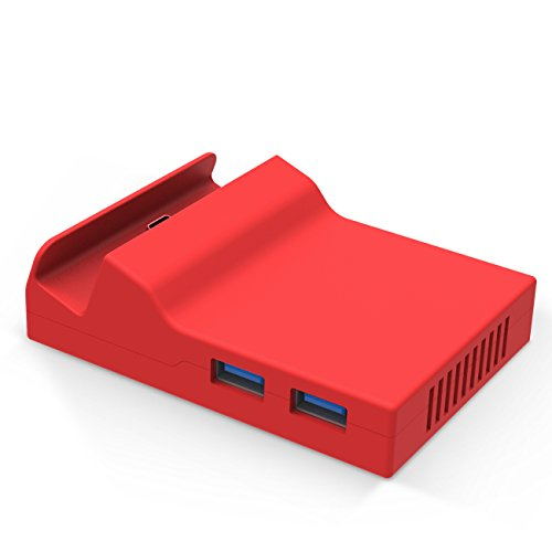BASSTOP Portable Dock Replacement Case for Nintendo Switch(Only The case, You Have to DIY with The Circuit Board chip from The Original Dock) (Red)