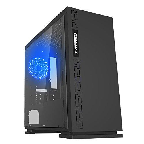 GAMEMAX Expedition Black Case Mini Micro Tower 0.6MM SPCC con Ventola 15 Led Blu 3*USB3.0/2.0 Pannello Laterale in Plexiglass (AxPxL: 380x350x188 mm)