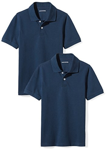 Amazon Essentials Toddler Boys Uniform Short-Sleeve Pique Polo Shirts, 2-Pack Navy/Navy, 4T