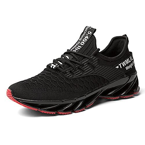 Zapatillas de Deportes Hombre Mujer Zapatos Deportivos Running Zapatillas para Correr Ligero y con Estilo Negro Blanco Gris Dorado 18 Negro Rojo 43