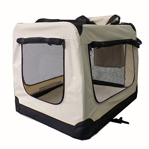 Sam´s Pet Hundetransportbox Lassie faltbar Größe M beige | Stoff Transportbox kleine Hunde & Katzen | Faltbare Hundebox für Auto Kofferraum