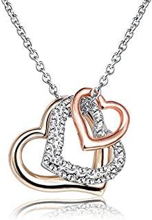 Mestige Women's Rhodium and Rose Gold Plated L'Amour Crystal Pendant Necklace (MSNE3403)