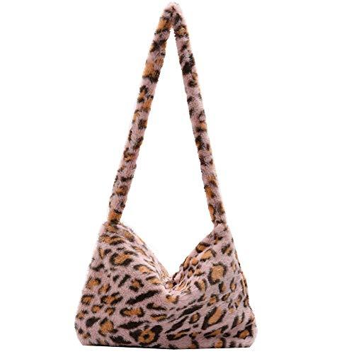 KANUBI Y2K - Bolsa de hombro esponjosa para las axilas, para mujer, de felpa con asa superior, bolso de mano de calle para la escuela, para otoño e invierno, atuendo casual