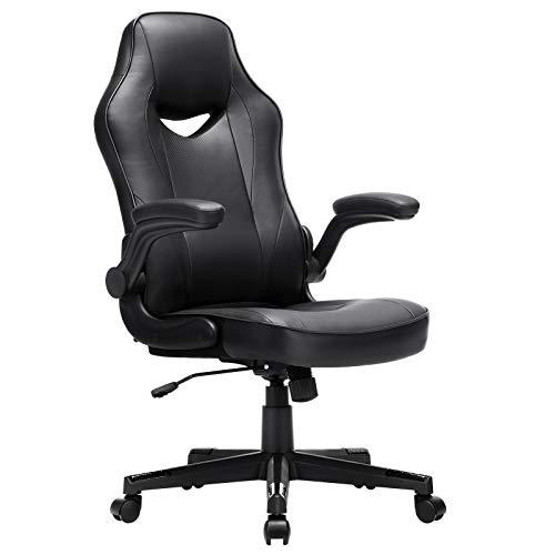 SONGMICS Bürostuhl, ergonomischer Schreibtischstuhl, Computerstuhl, höhenverstellbar, bis 150 kg belastbar, PU-Kunstleder, Homeoffice, Büro, schwarz OBG064B01