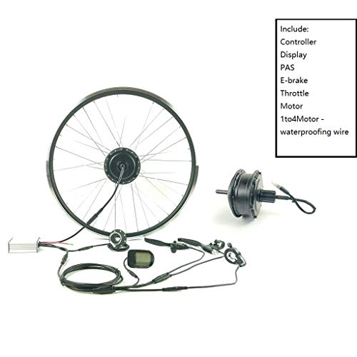 ZLM Bike Conversion Kit Fahrrad-Power-Assisted Umrüstsatz 48V250W Elektro-Fahrrad Umbausatz Mit LCD 5 Anzeige Wasserdicht Kabel,20inch LCD Sets