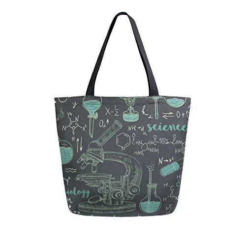Ahomy Reusable Canvas Grocery Tote Bags, Chemistry Laboratory Microscope Women Handbag Shopping Tote Work School