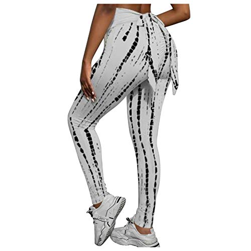 ReooLy Women's Bohemian Floral Printing Leggings,High Waist Running Tights Stretch Strethcy Fitness Yoga Pants(A-White,X-Large)