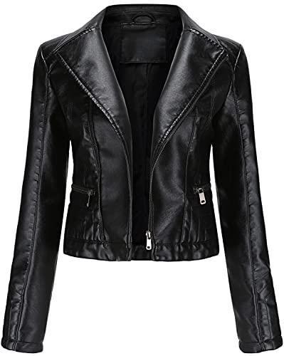 E-Qianw Chaqueta De Cuero De Piel Sintética para Mujer Slim Short Abrigo Zipper Moto PU Chaquetas,Negro,3XL