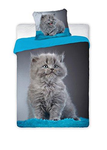 Parure de lit Faro Best Friends Cat - 140 x 200 cm - BF010 - Coton - Multicolore - 200 x 140 cm