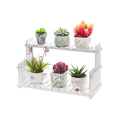 QPLKKMOI 2 Tier Flower Stand Wood Rack Plant Storage Display Shelf, Flower Pot Shelf Indoor Simple