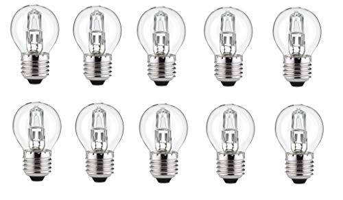 10x Halogen Glühlampe Kugel E27 dimmbar 30 Watt = 40 Watt G45 warmweiß Glühbirne