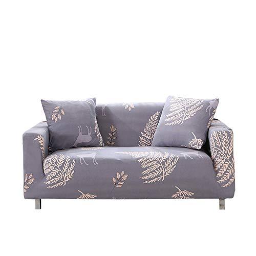 Funda para sofá elástica, antideslizante, estampado de plumas y flores moderno y simple, de 1/2/3/4 plazas, protector para mascotas (Elegancia - gris, 2-Seater Sofa Length 55-67In + 1pcs Free Pillowc)