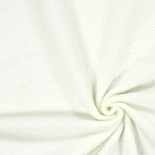 Fabulous Fabrics Fleece wollweiß, Uni, 150cm breit – Fleece zum Nähen von Decken und Kissen – Meterware erhältlich ab 0,5 m